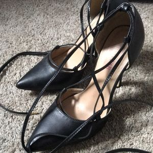 JustFab Shoes - Just fab black leather ankle tie heels